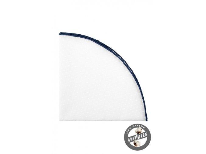 Bílý kulatý kapesníček s tmavě modrým okrajem