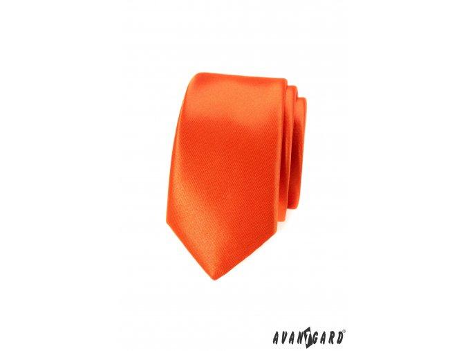 Cihlově oranžová lesklá slim kravata