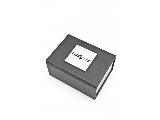 Stříbrné manžetové knoflíčky s tenkými černými proužky