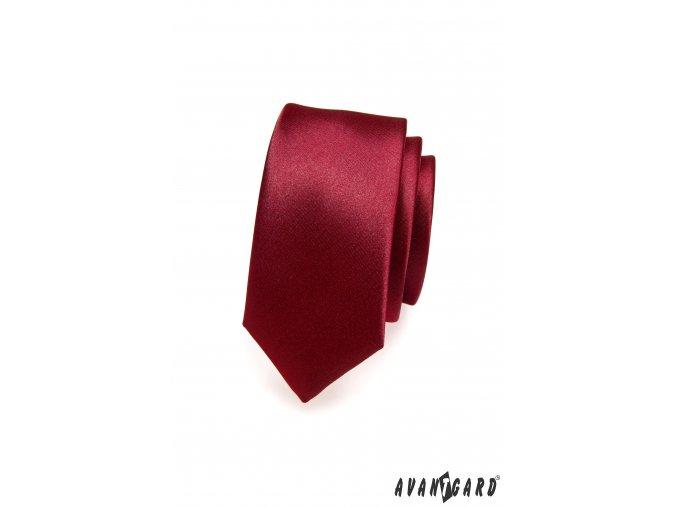 Tmavě bordó luxusní jemně lesklá SLIM kravata