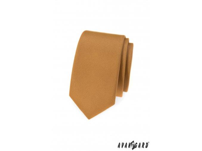 Béžová matná slim kravata