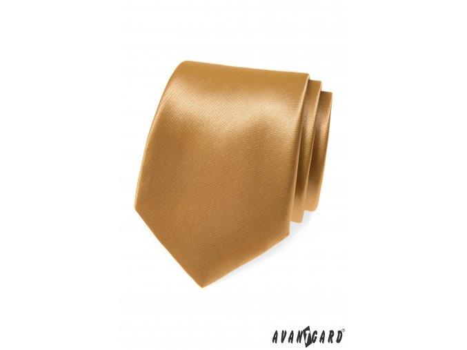 Béžová lesklá jednobarevná kravata