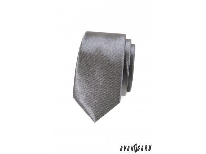 Světle grafitová luxusní jednobarevná jemně lesklá SLIM kravata