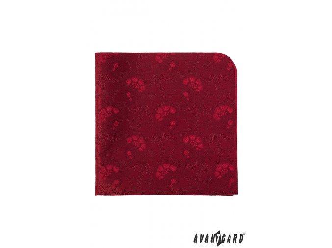 Červený kapesníček s jemným zajímavým vzorem