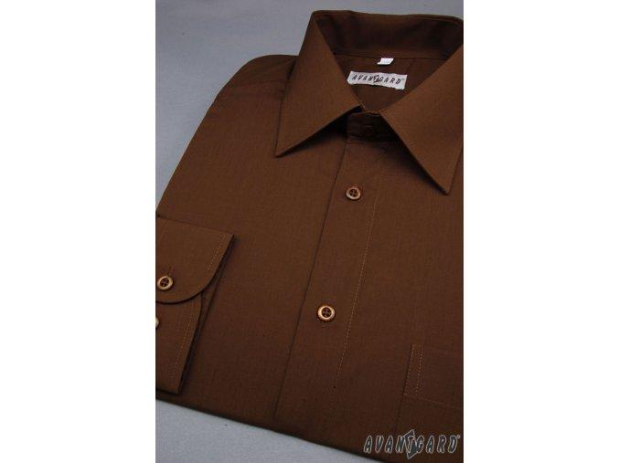 Pánská košile KLASIK s dl.ruk. 451-35 V35-tmavě hnědá (Barva V35-tmavě hnědá, Velikost 41/194, Materiál 55% bavlna a 45% polyester)