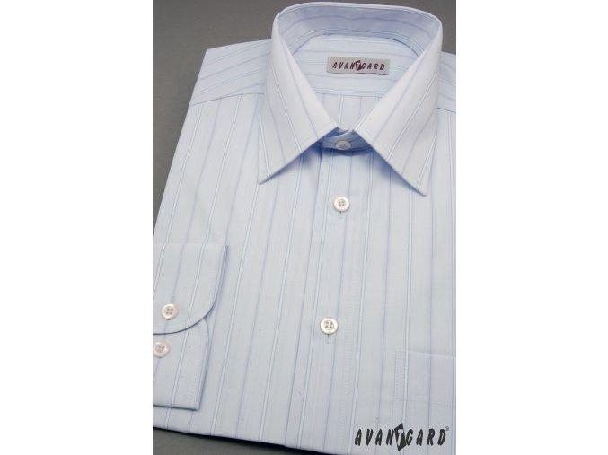 Pánská světle modrá košile s jemnými pruhy dl. rukáv 511-07