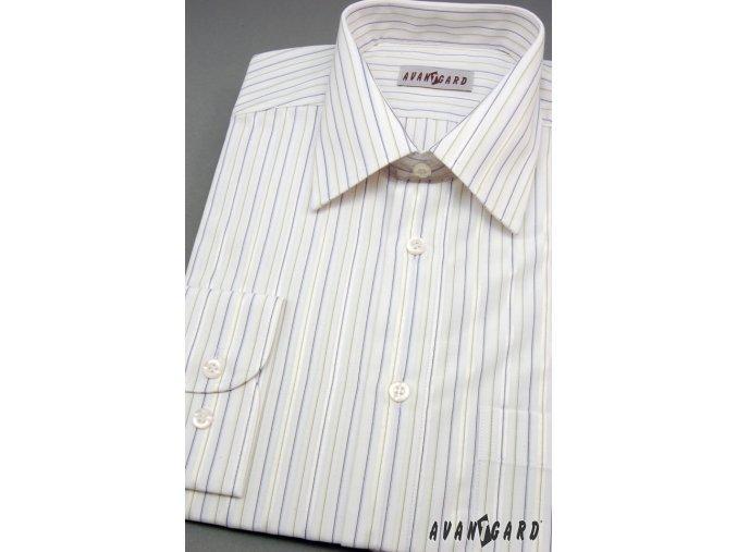 Pánská bílá košile s dl. rukávem a jemnými barevnými pruhy  ( KLASIK 511-03)