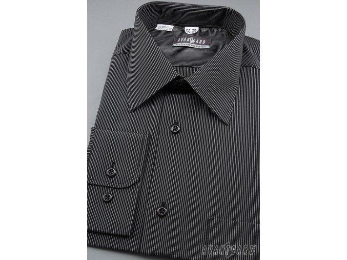 Pánská černá košile s jemnými pruhy dl. ruk. 511-2301