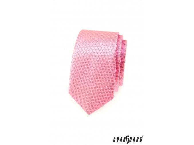 Růžová slim kravata s mřížkovanou strukturou