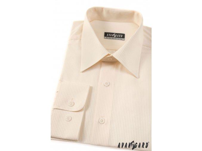 Pánská smetanová košile s jemnými pruhy KLASIK dl.ruk 527-1103