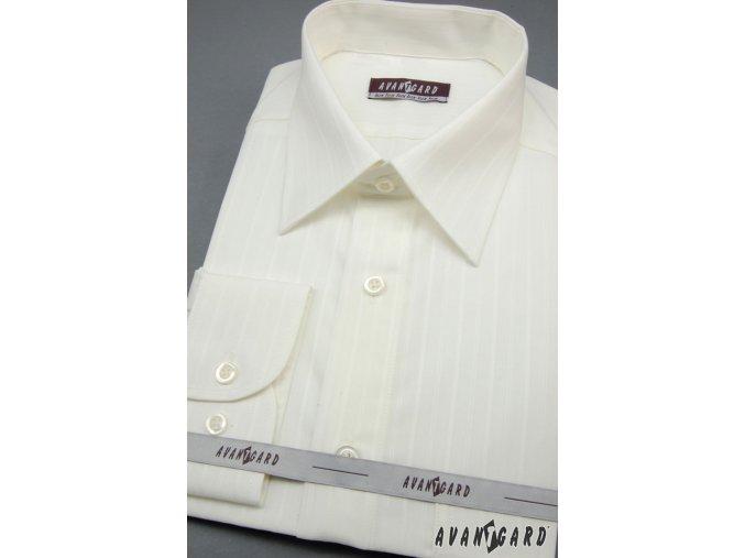 Pánská smetanová košile s jemným vzorem KLASIK dl.ruk 527-90017