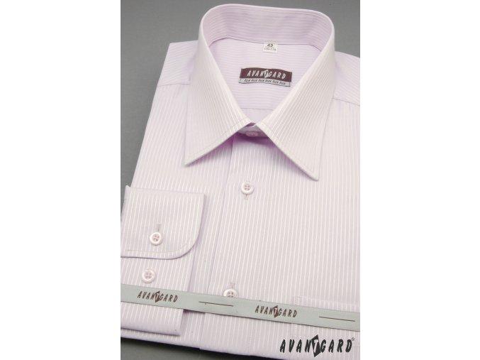 Pánská světle fialovo-růžová košile s jemnými pruhy dl. ruk. 511-33