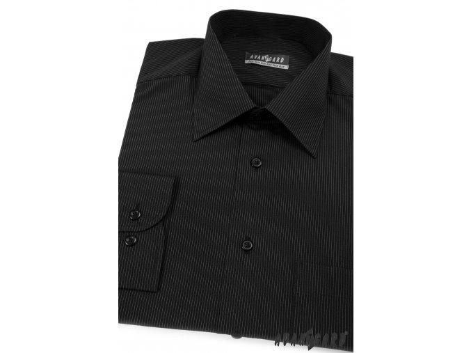 Pánská černá košile s jemnými proužky dl. ruk. 511-2300