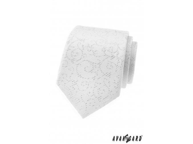Bílá kravata s jemně třpytivým vzorem