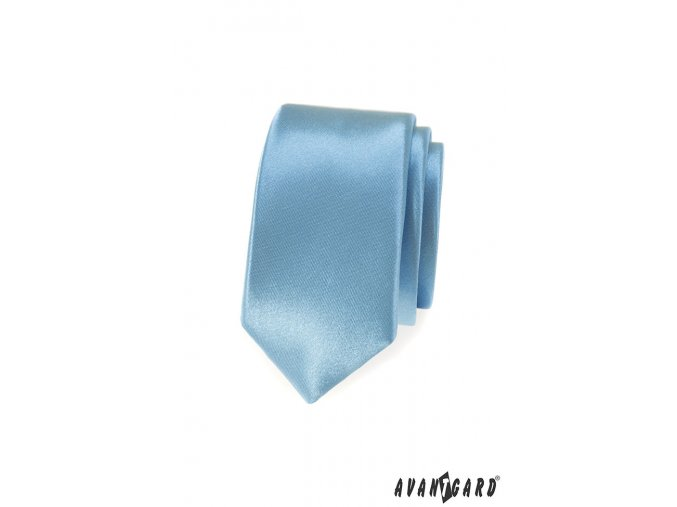 Světle modrá slim jednobarevná kravata