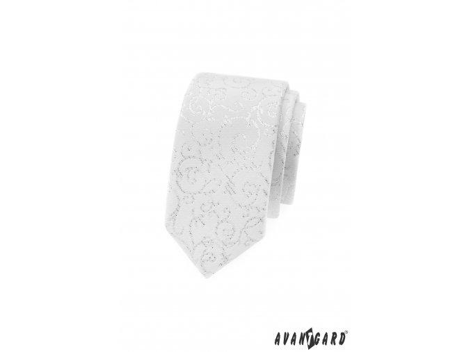 Bílá slim kravata s jemně třpytivým vzorem