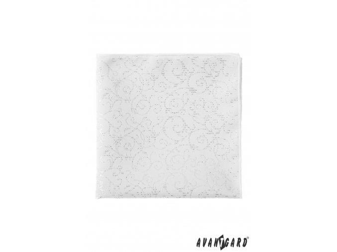 Bílý kapesníček s jemně třpytivým vzorem