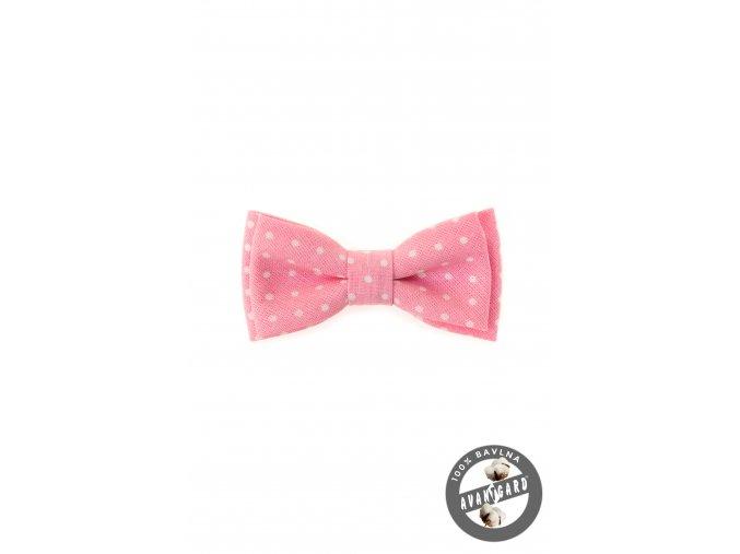 Růžový dětský motýlek s bílými puntíky