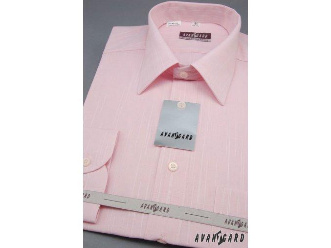 Pánská košile AVANTGARD LUX s dl. ruk. 564-4273 4273-růžová (Barva 4273-růžová, Velikost 44/182, Materiál 100% bavlna)