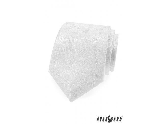 Bílá luxusní kravata s velmi nenápadným vzorem