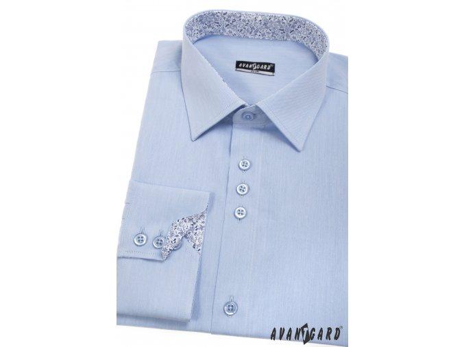 Bledě modrá pánská slim fit košile, dl. rukáv, 125-1541