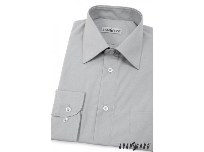 Pánská ocelové šedá košile KLASIK s dl.ruk. 451-21