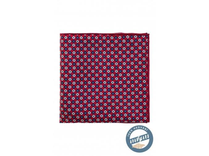 Bordó kapesníček s barevnými kostkami