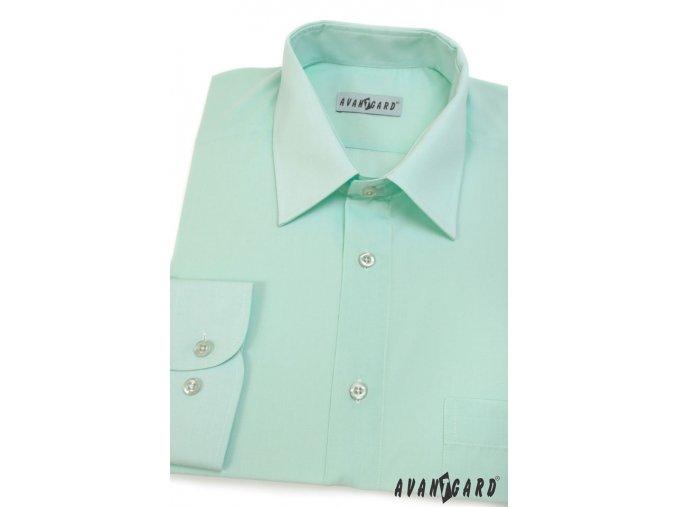Pánská mátově zelená košile KLASIK s dl.ruk. 451-29