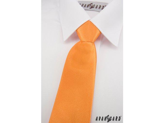 Oranžová chlapecká jemně lesklá kravata bez vzoru