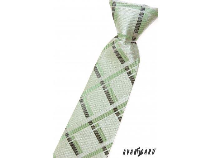 Velmi světle zelená chlapecká kravata s protínajícími se pruhy