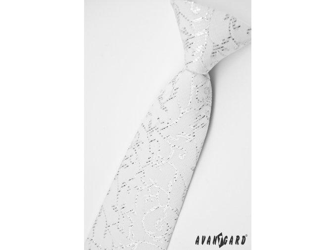 Bílá chlapecká kravata se třpytivým květovaným vzorem