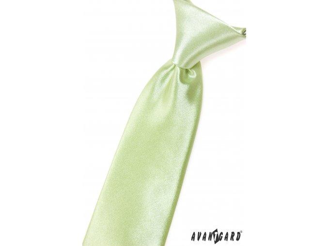 Světle limetková chlapecká jemně lesklá kravata