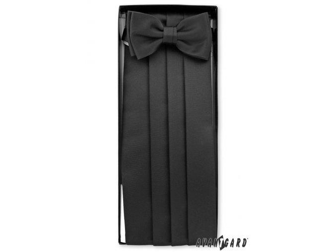 Černý matný frakový pás s motýlkem a kapesníčkem
