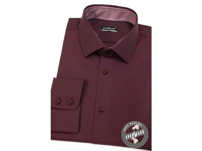 Bordó pánská slim fit košile, dl.rukáv, 509-21113