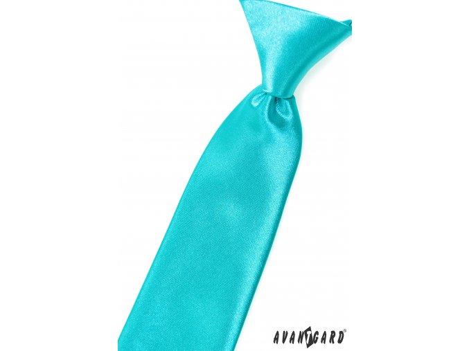 Tyrkysová dětská lesklá kravata