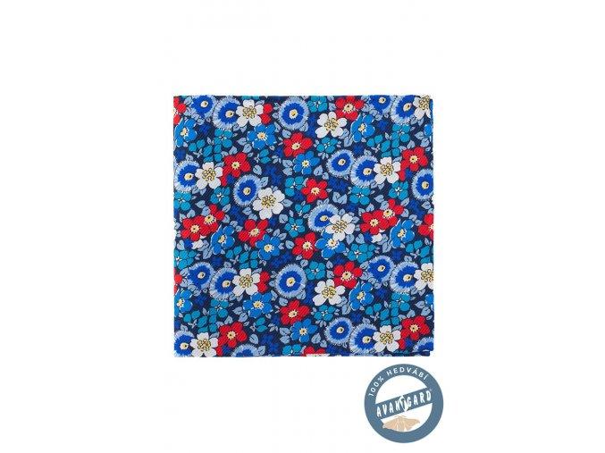 Tmavě modrý hedvábný kapesníček s květy