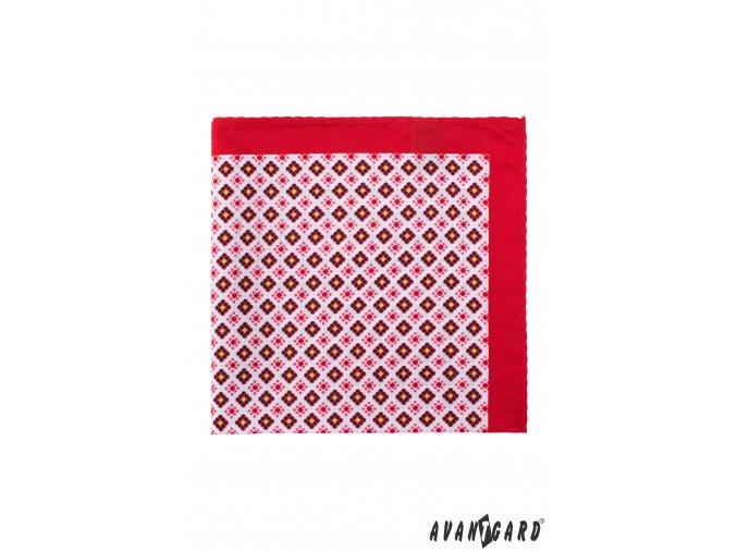 Červený kapesníček se vzorem a širokým okrajem