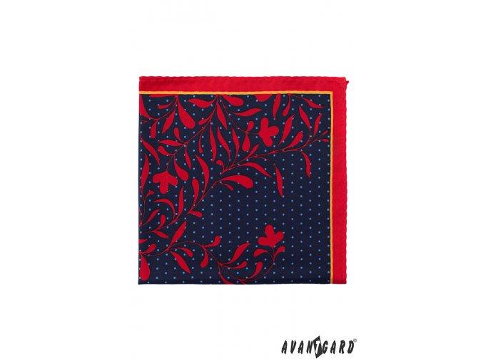 Tmavě modrý kapesníček s červeným květovaným vzorem