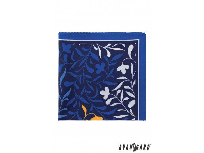 Modrý kapesníček s bílým květovaným vzorem