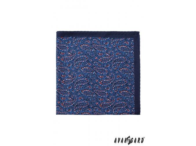 Tmavě modrý kapesníček s jemným červeným vzorem