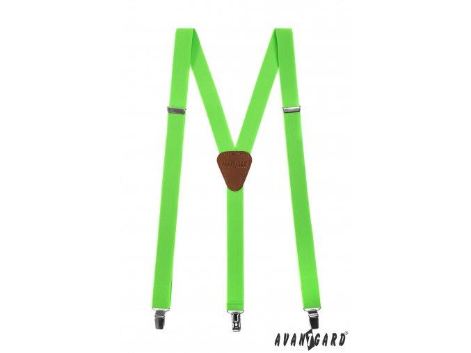 Neonově zelené šle s hnědým středem