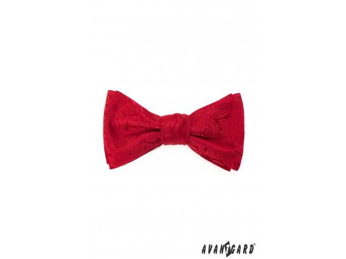 Červený pánský vázací motýlek se vzorem stejné barvy + kapesníček do saka