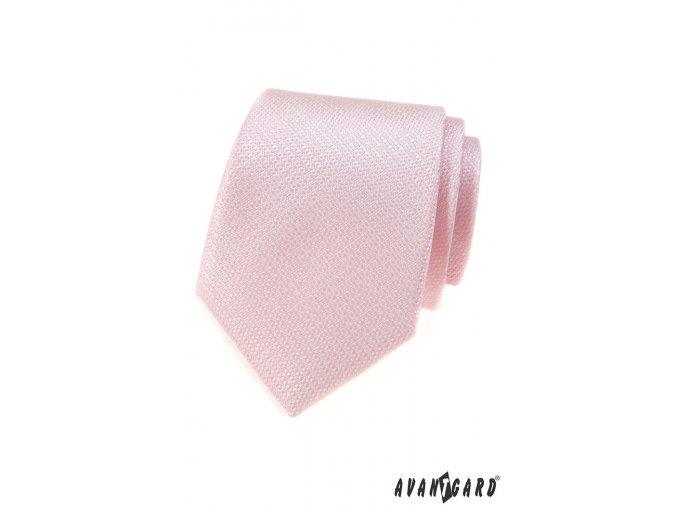 Světle růžová vroubkovaná kravata