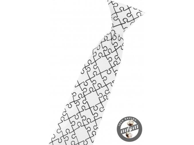 Bílá dětská kravata se vzorem - puzzle