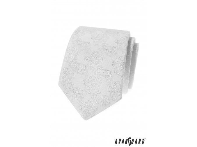Bílá luxusní kravata se vzorem