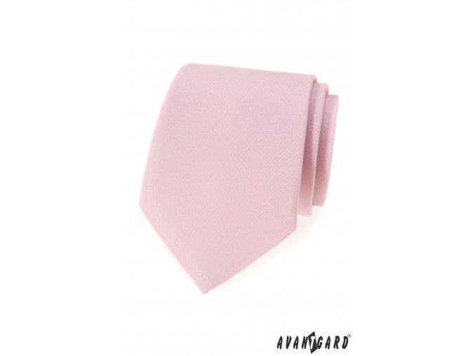 Pudrová matná kravata