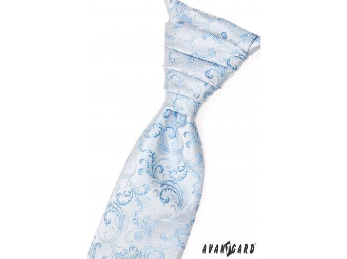 Velmi světle modrá jemně lesklá pánská regata se vzorem + kapesníček do saka
