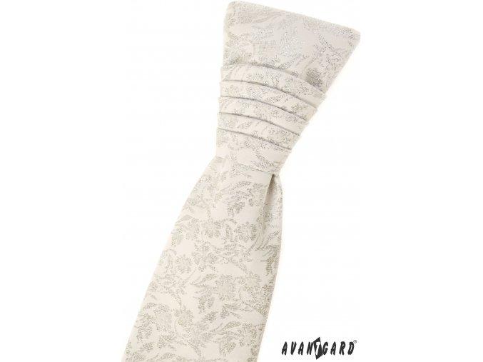Smetanová pánská regata se stříbrným vzorem + kapesníček do saka