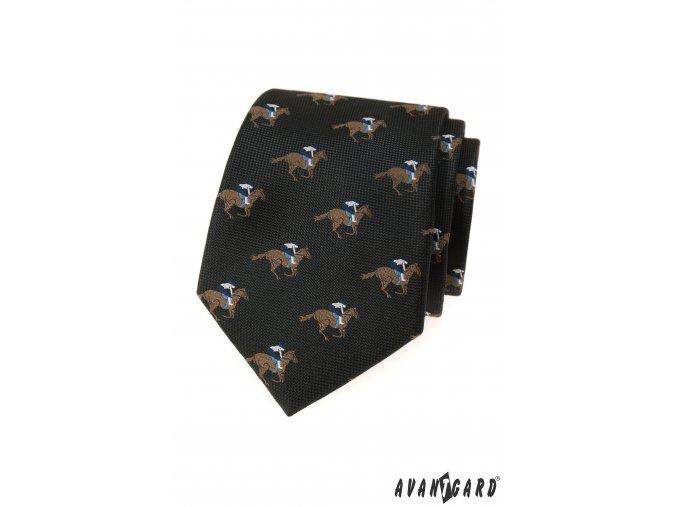 Černá kravata se vzorem - Žokej