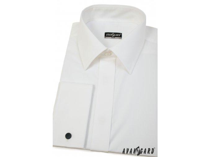 Smetanová pánská slim fit košile na man. knoflíčky, krytá léga, 160-224